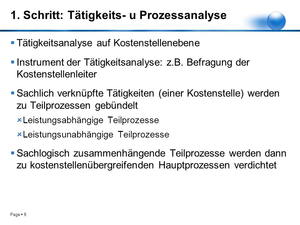 Page 9 Überblick: Tätigkeits- u Prozessanalyse