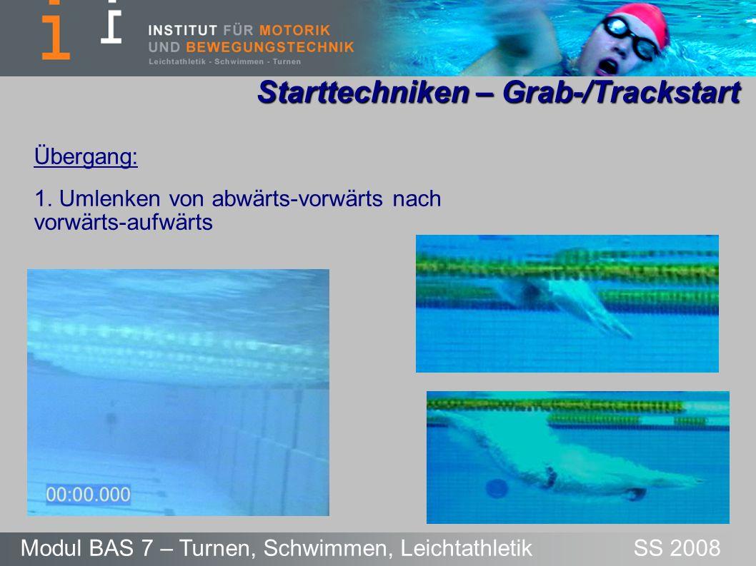 Starttechniken – Grab-/Trackstart Modul BAS 7 – Turnen, Schwimmen, Leichtathletik SS 2008 Übergang: 1. Umlenken von abwärts-vorwärts nach vorwärts-auf