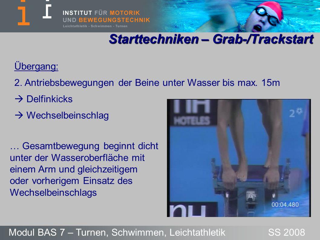 Starttechniken – Grab-/Trackstart Modul BAS 7 – Turnen, Schwimmen, Leichtathletik SS 2008 Übergang: 2. Antriebsbewegungen der Beine unter Wasser bis m