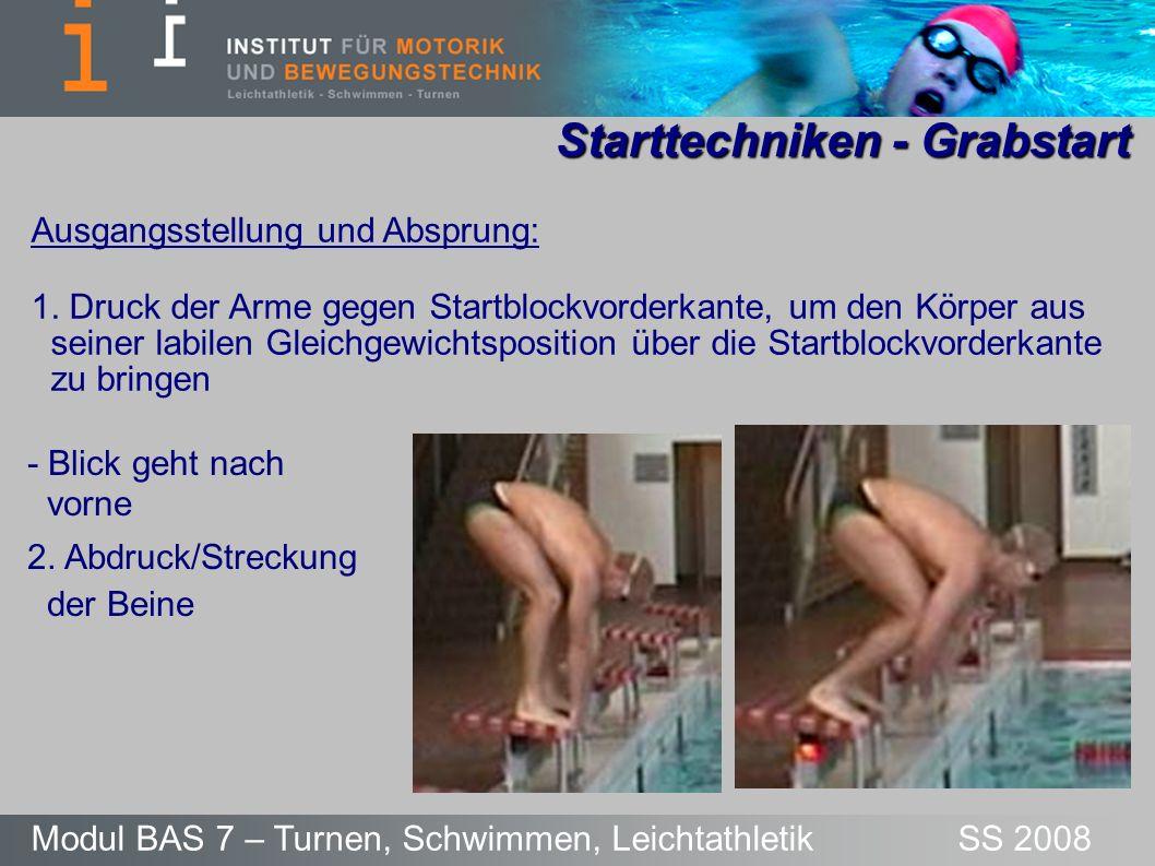 Starttechniken - Grabstart Modul BAS 7 – Turnen, Schwimmen, Leichtathletik SS 2008 Ausgangsstellung und Absprung: 1. Druck der Arme gegen Startblockvo