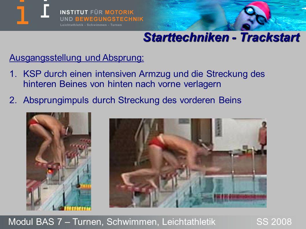 Starttechniken – Grab-/Trackstart Modul BAS 7 – Turnen, Schwimmen, Leichtathletik SS 2008 Flug: - Absprungwinkel von 10-15° zur Waagerechten - Arme zeigen zur Wasseroberfläche - Kopf zwischen die Arme nehmen