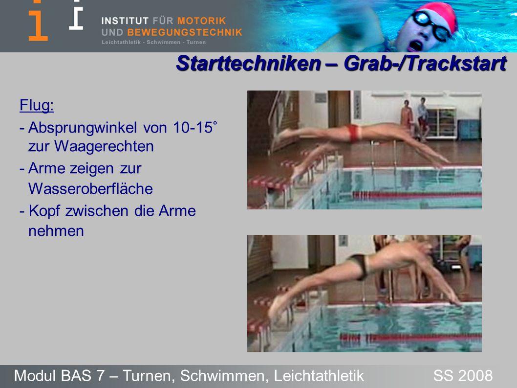Starttechniken – Grab-/Trackstart Modul BAS 7 – Turnen, Schwimmen, Leichtathletik SS 2008 Flug: - Absprungwinkel von 10-15° zur Waagerechten - Arme ze
