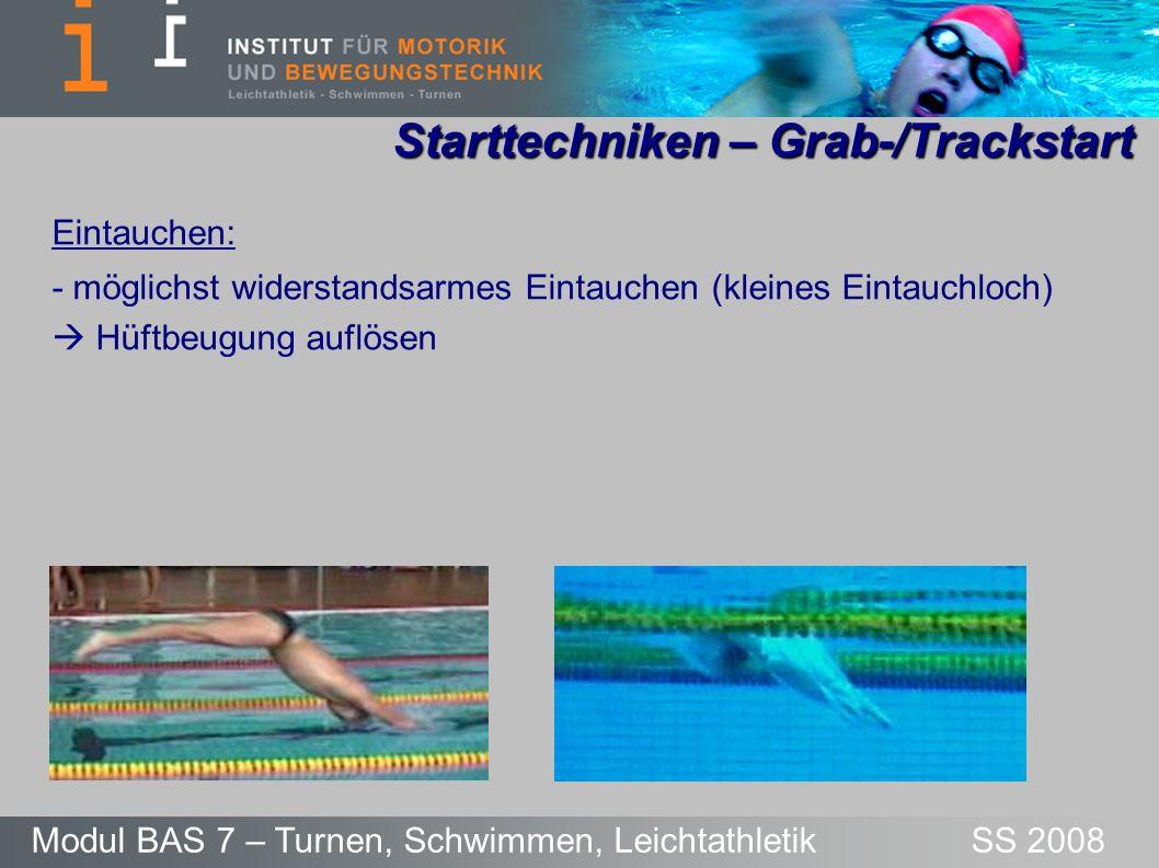 Starttechniken – Grab-/Trackstart Modul BAS 7 – Turnen, Schwimmen, Leichtathletik SS 2008 Eintauchen: - möglichst widerstandsarmes Eintauchen (kleines