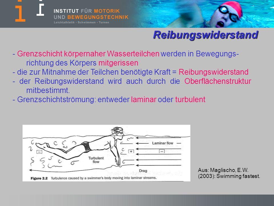 Reibungswiderstand - Grenzschicht körpernaher Wasserteilchen werden in Bewegungs- richtung des Körpers mitgerissen - die zur Mitnahme der Teilchen ben