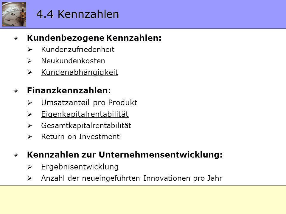 4.4 Kennzahlen Kundenbezogene Kennzahlen: Kundenzufriedenheit Neukundenkosten Kundenabhängigkeit Finanzkennzahlen: Umsatzanteil pro Produkt Eigenkapit