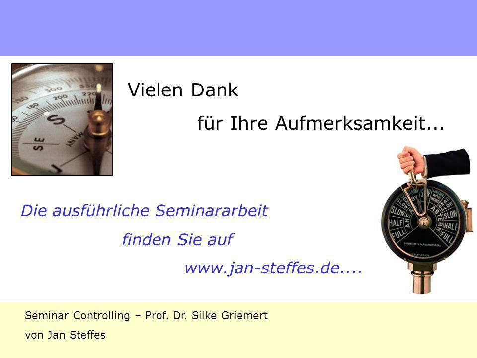 Danke Vielen Dank für Ihre Aufmerksamkeit... Die ausführliche Seminararbeit finden Sie auf www.jan-steffes.de.... Seminar Controlling – Prof. Dr. Silk