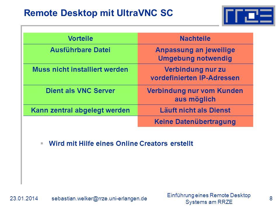 Einführung eines Remote Desktop Systems am RRZE 23.01.2014sebastian.welker@rrze.uni-erlangen.de8 Remote Desktop mit UltraVNC SC VorteileNachteile Ausf