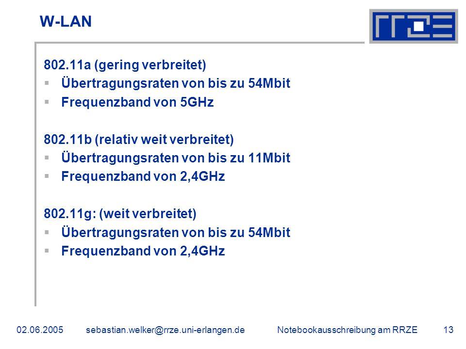 Notebookausschreibung am RRZE02.06.2005sebastian.welker@rrze.uni-erlangen.de13 W-LAN 802.11a (gering verbreitet) Übertragungsraten von bis zu 54Mbit Frequenzband von 5GHz 802.11b (relativ weit verbreitet) Übertragungsraten von bis zu 11Mbit Frequenzband von 2,4GHz 802.11g: (weit verbreitet) Übertragungsraten von bis zu 54Mbit Frequenzband von 2,4GHz