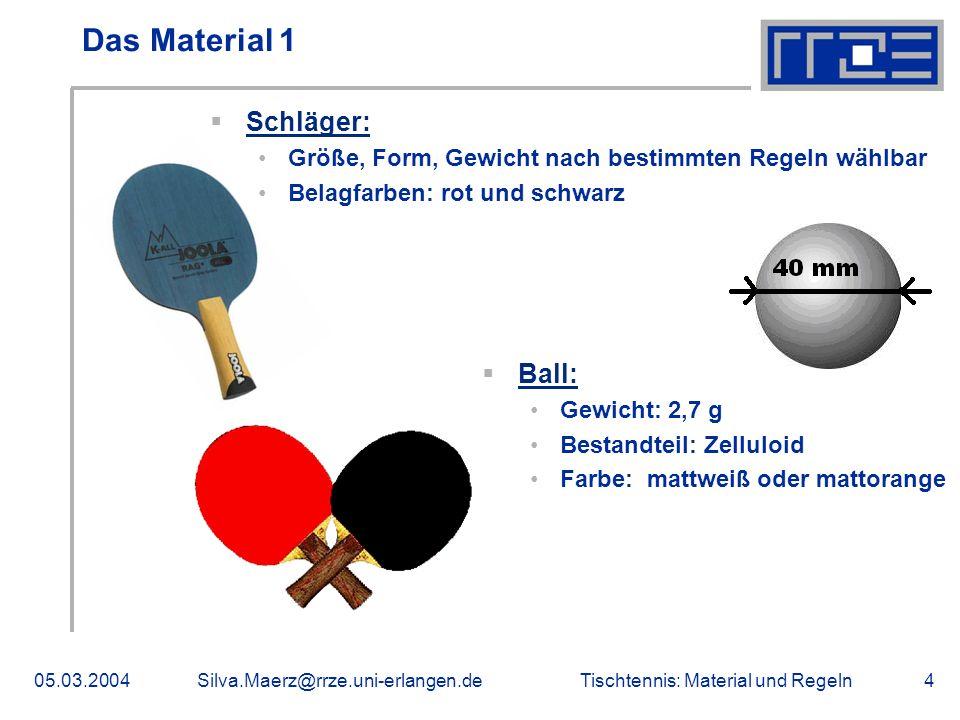 Tischtennis: Material und Regeln05.03.2004Silva.Maerz@rrze.uni-erlangen.de5 Das Material 2 Platte: Zwei gleichgroße Spielfelder mit je zwei gleichgroßen Spielfeldhälften Netz: Bestandteile: Netz, Aufhängung und Pfosten mit Zwingen