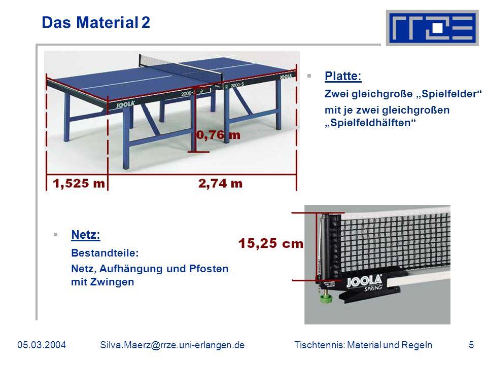 Tischtennis: Material und Regeln05.03.2004Silva.Maerz@rrze.uni-erlangen.de5 Das Material 2 Platte: Zwei gleichgroße Spielfelder mit je zwei gleichgroß