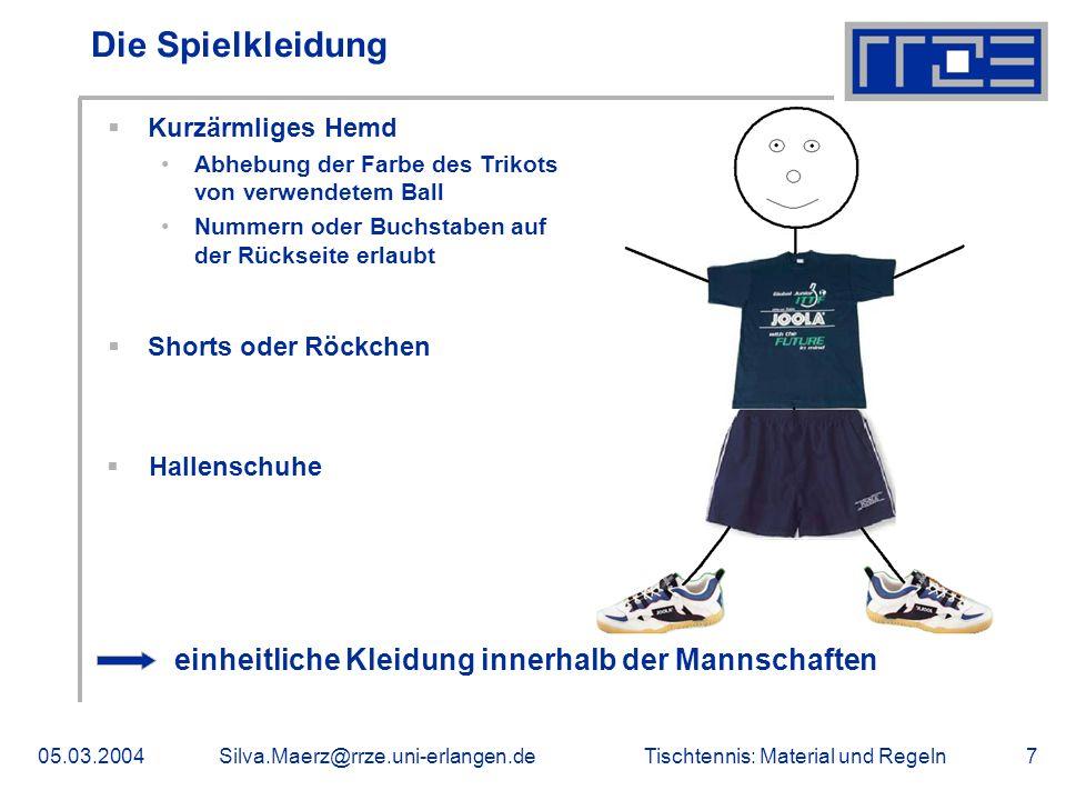 Tischtennis: Material und Regeln05.03.2004Silva.Maerz@rrze.uni-erlangen.de7 Die Spielkleidung Kurzärmliges Hemd Abhebung der Farbe des Trikots von ver