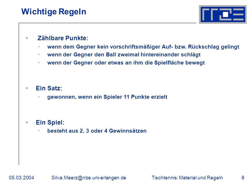 Tischtennis: Material und Regeln05.03.2004Silva.Maerz@rrze.uni-erlangen.de8 Wichtige Regeln Zählbare Punkte: wenn dem Gegner kein vorschriftsmäßiger A