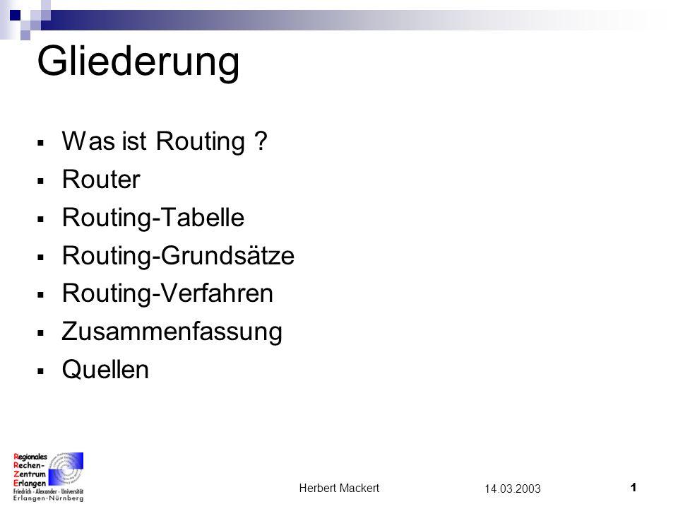 Herbert Mackert1 14.03.2003 Gliederung Was ist Routing .