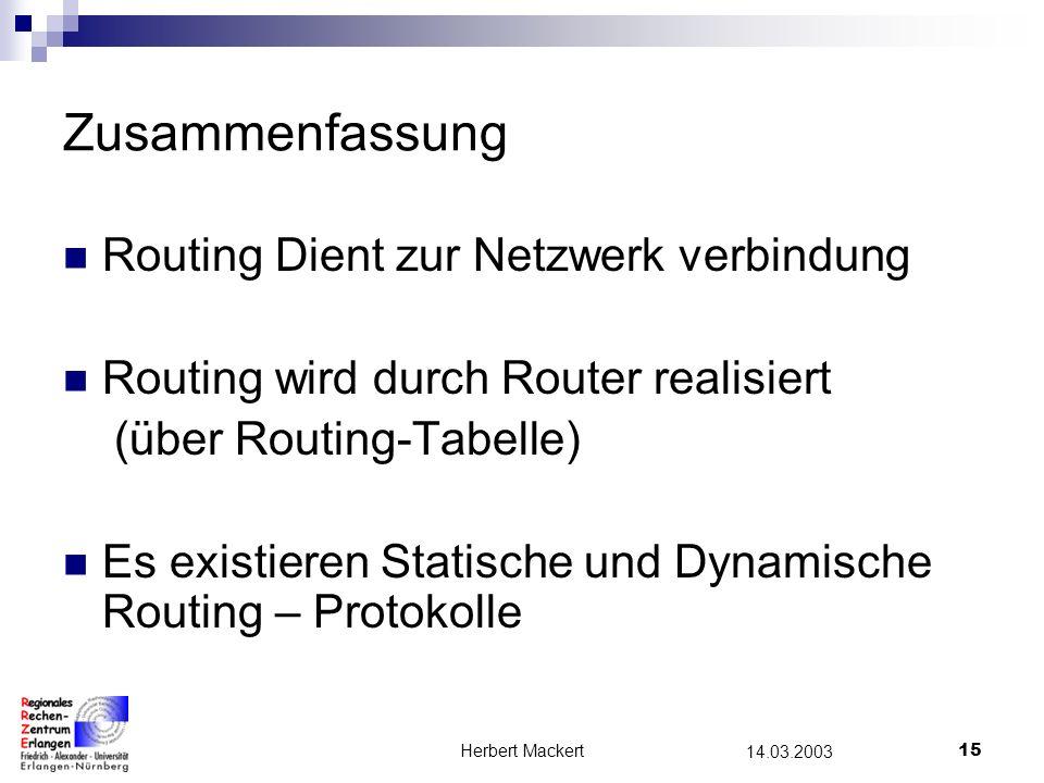 Herbert Mackert14 14.03.2003 Netzwerk 131.188.30.10131.188.30.11131.188.30.12 131.188.20.11131.188.20.12131.188.20.10 Standleitung 1 Router A 131.188.