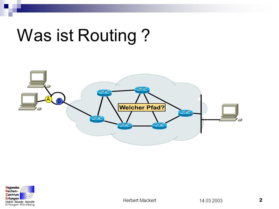 Herbert Mackert1 14.03.2003 Gliederung Was ist Routing ? Router Routing-Tabelle Routing-Grundsätze Routing-Verfahren Zusammenfassung Quellen