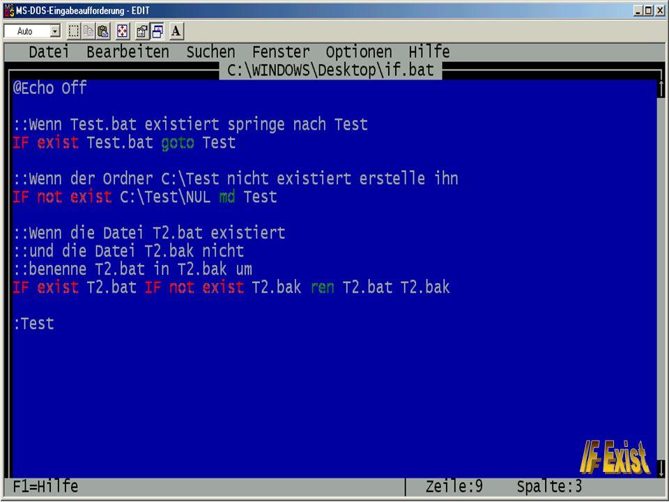 14 Sebastian Röhl, 28.06.2001 Batch-Programmierung Grundlagen
