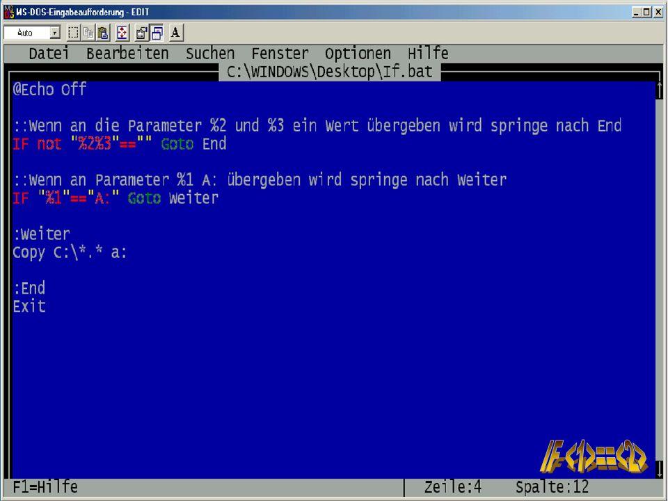 16 Sebastian Röhl, 28.06.2001 Batch-Programmierung Grundlagen