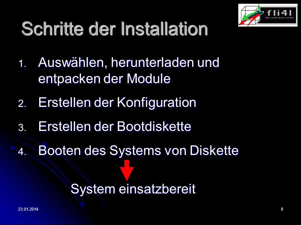 23.01.20149 Konfiguration (1) Konfigurationsdateien (1) Konfigurationsdateien Editieren von Konfigurationsdateien Editieren von Konfigurationsdateien Mehr Wissen notwenig Mehr Wissen notwenig Unter jedem BS Unter jedem BS Individuelle Konfiguration möglich Individuelle Konfiguration möglich (2) fli4l-Wizard (2) fli4l-Wizard Konfiguration per Maus Konfiguration per Maus Weniger Wissen notwendig Weniger Wissen notwendig Nur unter Windows Nur unter Windows Nur Standard- konfiguration möglich Nur Standard- konfiguration möglich 2 Möglichkeiten