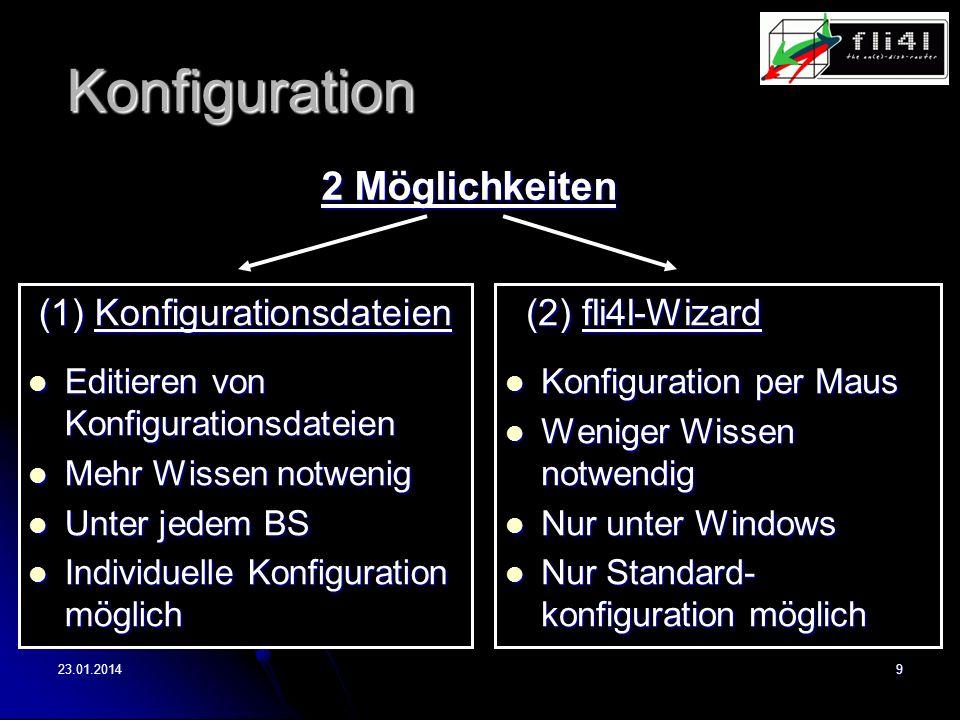23.01.20149 Konfiguration (1) Konfigurationsdateien (1) Konfigurationsdateien Editieren von Konfigurationsdateien Editieren von Konfigurationsdateien