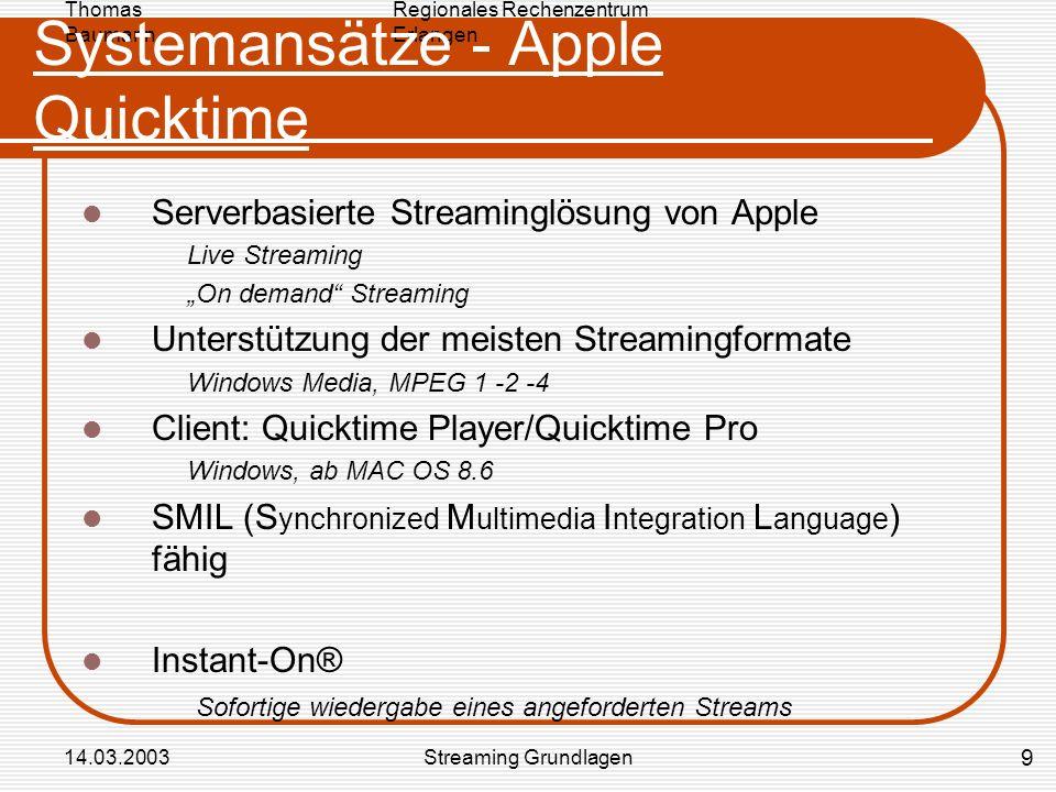 Regionales Rechenzentrum Erlangen Thomas Baumann 14.03.2003Streaming Grundlagen Systemansätze - Apple Quicktime Serverbasierte Streaminglösung von App