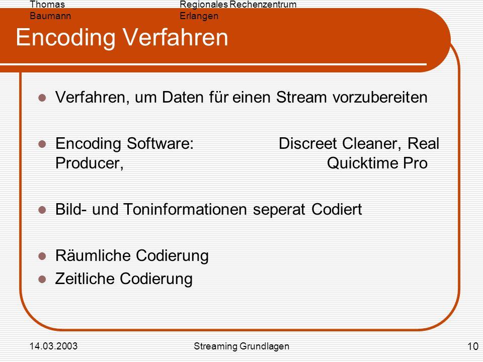 Regionales Rechenzentrum Erlangen Thomas Baumann 14.03.2003Streaming Grundlagen Encoding Verfahren Verfahren, um Daten für einen Stream vorzubereiten