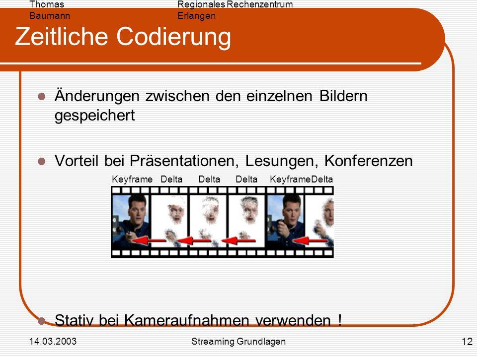 Regionales Rechenzentrum Erlangen Thomas Baumann 14.03.2003Streaming Grundlagen Zeitliche Codierung Änderungen zwischen den einzelnen Bildern gespeich