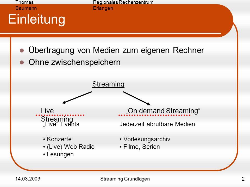 Regionales Rechenzentrum Erlangen Thomas Baumann 14.03.2003Streaming Grundlagen Einleitung Übertragung von Medien zum eigenen Rechner Ohne zwischenspe