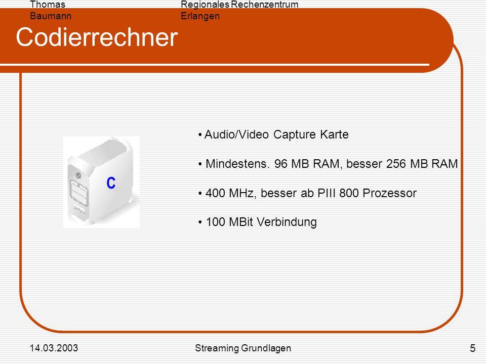 Regionales Rechenzentrum Erlangen Thomas Baumann 14.03.2003Streaming Grundlagen Codierrechner Audio/Video Capture Karte Mindestens. 96 MB RAM, besser