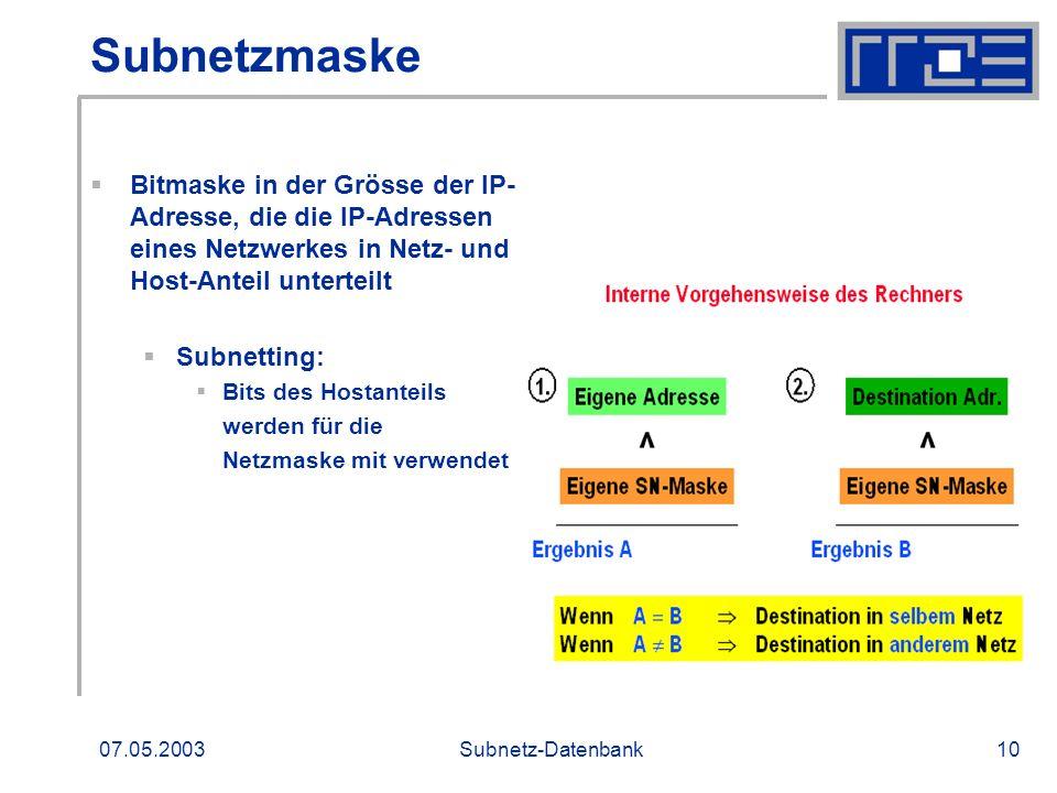 07.05.2003Subnetz-Datenbank10 Subnetzmaske Bitmaske in der Grösse der IP- Adresse, die die IP-Adressen eines Netzwerkes in Netz- und Host-Anteil unter