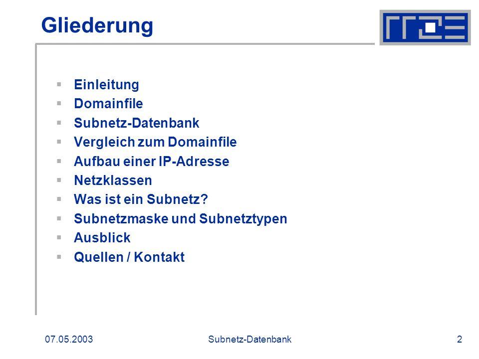 07.05.2003Subnetz-Datenbank13 Ausblick DNS-Admins Zuständig für die Verwaltung eines Subnetzes Security-Admin Zuständig für Sicherheit in einem Institut