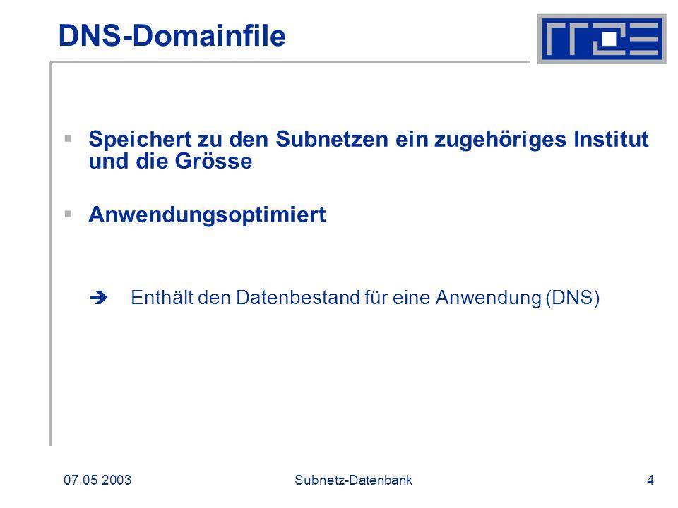 07.05.2003Subnetz-Datenbank4 DNS-Domainfile Speichert zu den Subnetzen ein zugehöriges Institut und die Grösse Anwendungsoptimiert Enthält den Datenbe