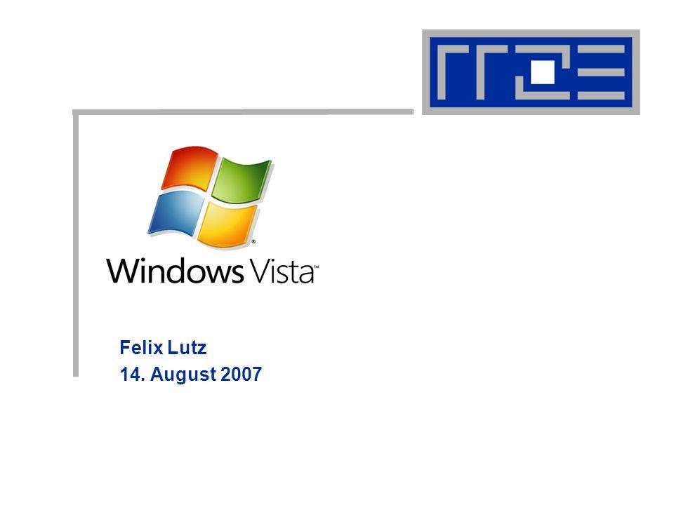Windows Vista 14.08.07 Felix.Lutz@rrze.uni-erlangen.de Fazit Verbesserung in den wichtigsten Punkten Sicherheit Leistung Stabilität Manche Windows XP Programme funktionieren nicht Verhinderung von nicht lizenzierten Installationen sind Zeitraubend Verbraucht viele Systemresourcen