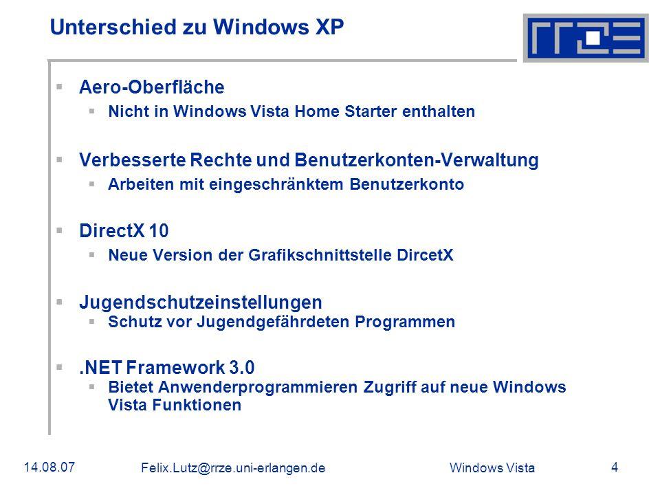 Windows Vista 14.08.07 Felix.Lutz@rrze.uni-erlangen.de 5 Versionen und Unterschiede (1/2) Windows Vista Starter Stark eingeschränkte Version für Entwicklungsländer Soll gegen Raubkopien schützen Windows Vista Home Basic Eingeschränkte Version der Home Premium Edition Aero Glas ist standardmäßig deaktiviert Windows Vista Home Premium Zusätzliche Funktionen wie HDTV-Unterstützung Kann keiner Domain beitreten