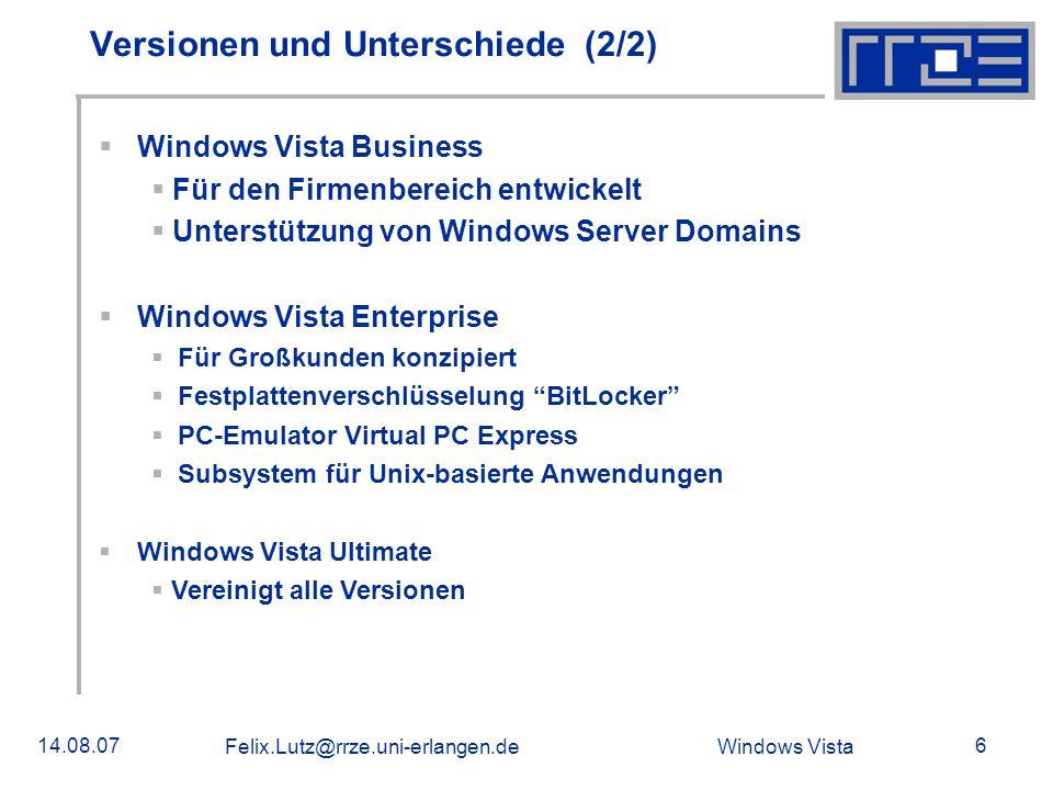 Windows Vista 14.08.07 Felix.Lutz@rrze.uni-erlangen.de Volume License Key Volume Activation 1.0 (VA 1.0) Erste Generation von VLKs Produktaktivierung wird übersprungen Wird weiterhin in Microsoft Office 2007 eingesetzt Problem: Software-Piraterie Volume Activation 2.0 (VA 2.0) Neueinführung in Windows Vista und Server 2007 Besserer Schutz vor Software-Piraterie Jeder Rechner muss nach Lizensierung aktiviert werden Nur für Windows Vista Buisness-Versionen 2 verschiedene Arten von VLK 2.0 Multiple Activation Key (MAK) Key Management Service (KMS)