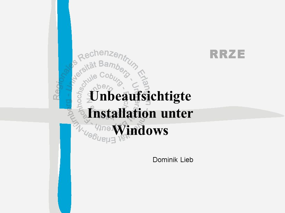 12 Dominik Lieb, 25.04.02 Unbeaufsichtigte Installation unter Windows Block [Network] DetectAdapters = : Erkennt vorhandene Netzwerkkarten aus OEM-Treiberliste InstallProtocols = ProtocolsSection: Verzweigt in die Section ProtocolsSection InstallServices = ServicesSection: Verzweigt in die Section ServicesSection JoinWorkgroup = RRZE: Beitreten der angegebenen Arbeitsgruppe
