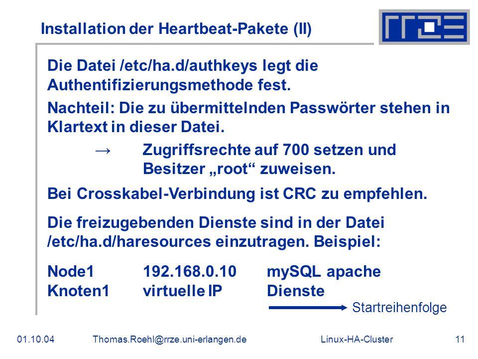 Linux-HA-Cluster01.10.04Thomas.Roehl@rrze.uni-erlangen.de11 Installation der Heartbeat-Pakete (II) Die Datei /etc/ha.d/authkeys legt die Authentifizie