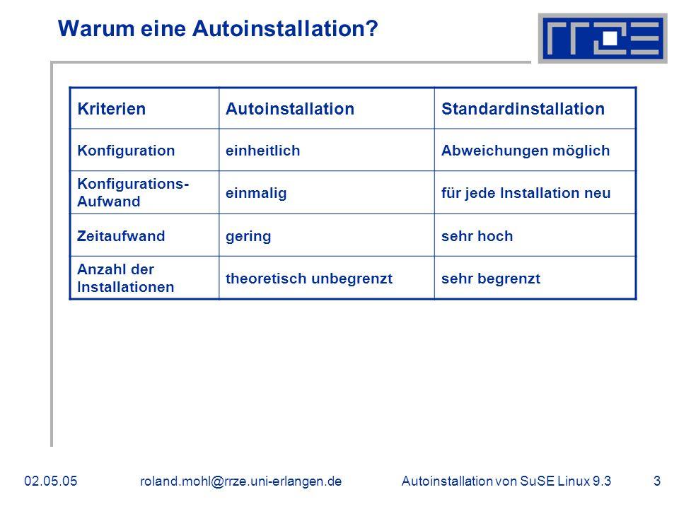 Autoinstallation von SuSE Linux 9.302.05.05roland.mohl@rrze.uni-erlangen.de3 Warum eine Autoinstallation.