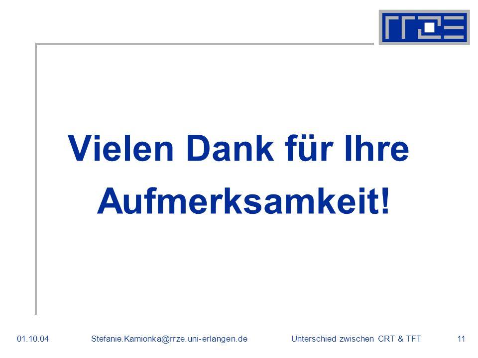 Unterschied zwischen CRT & TFT01.10.04Stefanie.Kamionka@rrze.uni-erlangen.de11 Vielen Dank für Ihre Aufmerksamkeit.