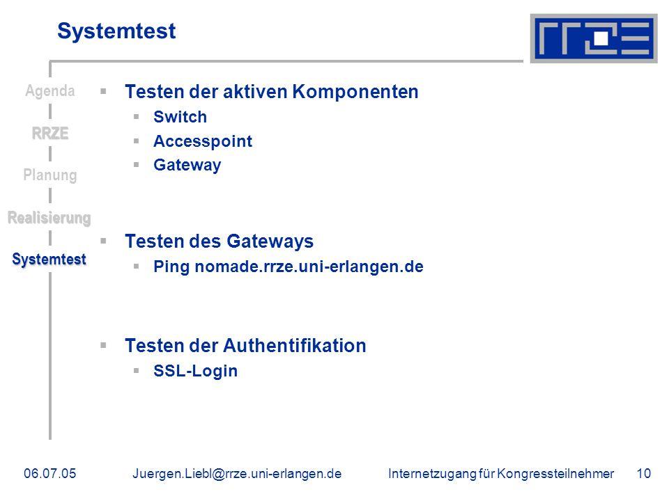 Internetzugang für Kongressteilnehmer06.07.05Juergen.Liebl@rrze.uni-erlangen.de10 Systemtest Testen der aktiven Komponenten Switch Accesspoint Gateway