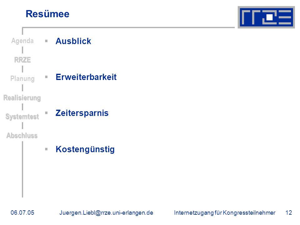 Internetzugang für Kongressteilnehmer06.07.05Juergen.Liebl@rrze.uni-erlangen.de12 Resümee Ausblick Erweiterbarkeit Zeitersparnis Kostengünstig RRZE Ag