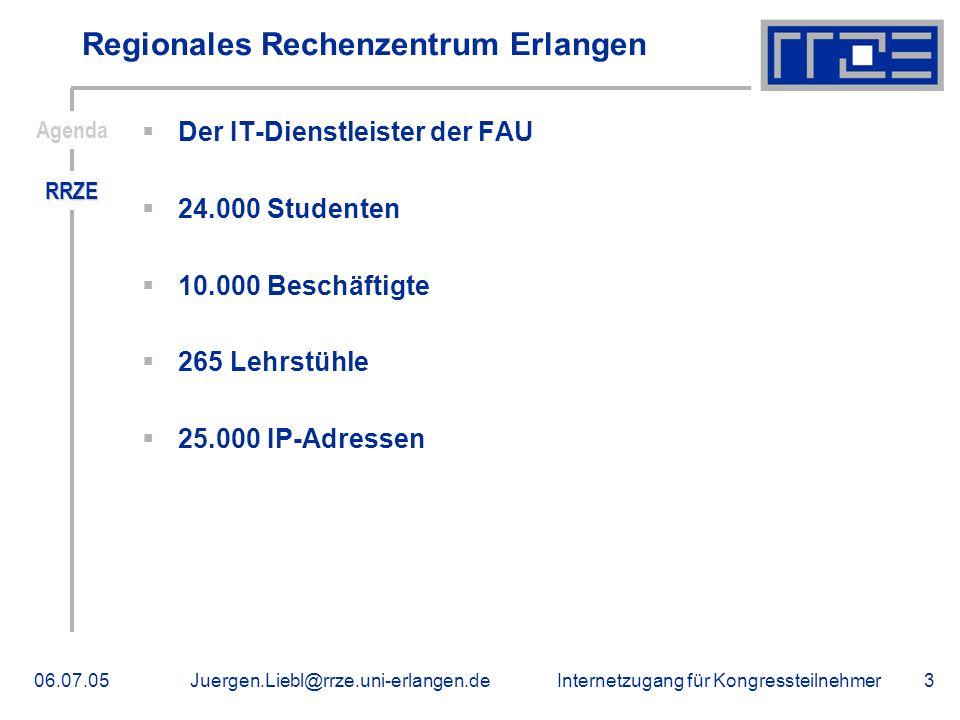 Internetzugang für Kongressteilnehmer06.07.05Juergen.Liebl@rrze.uni-erlangen.de3 Regionales Rechenzentrum Erlangen Der IT-Dienstleister der FAU 24.000