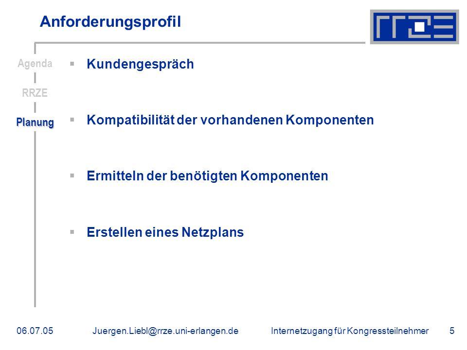Internetzugang für Kongressteilnehmer06.07.05Juergen.Liebl@rrze.uni-erlangen.de5 Anforderungsprofil Kundengespräch Kompatibilität der vorhandenen Komp