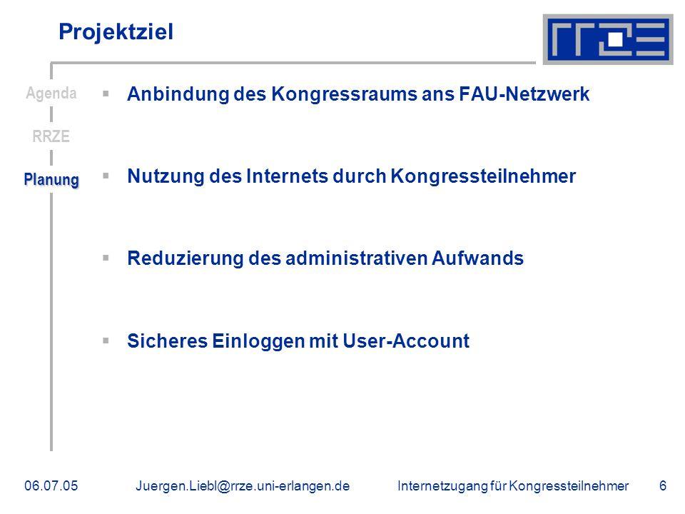 Internetzugang für Kongressteilnehmer06.07.05Juergen.Liebl@rrze.uni-erlangen.de6 Projektziel Anbindung des Kongressraums ans FAU-Netzwerk Nutzung des