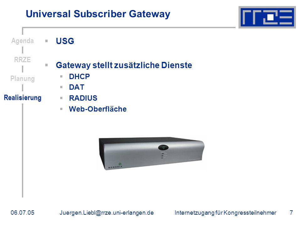 Internetzugang für Kongressteilnehmer06.07.05Juergen.Liebl@rrze.uni-erlangen.de7 Universal Subscriber Gateway USG Gateway stellt zusätzliche Dienste D