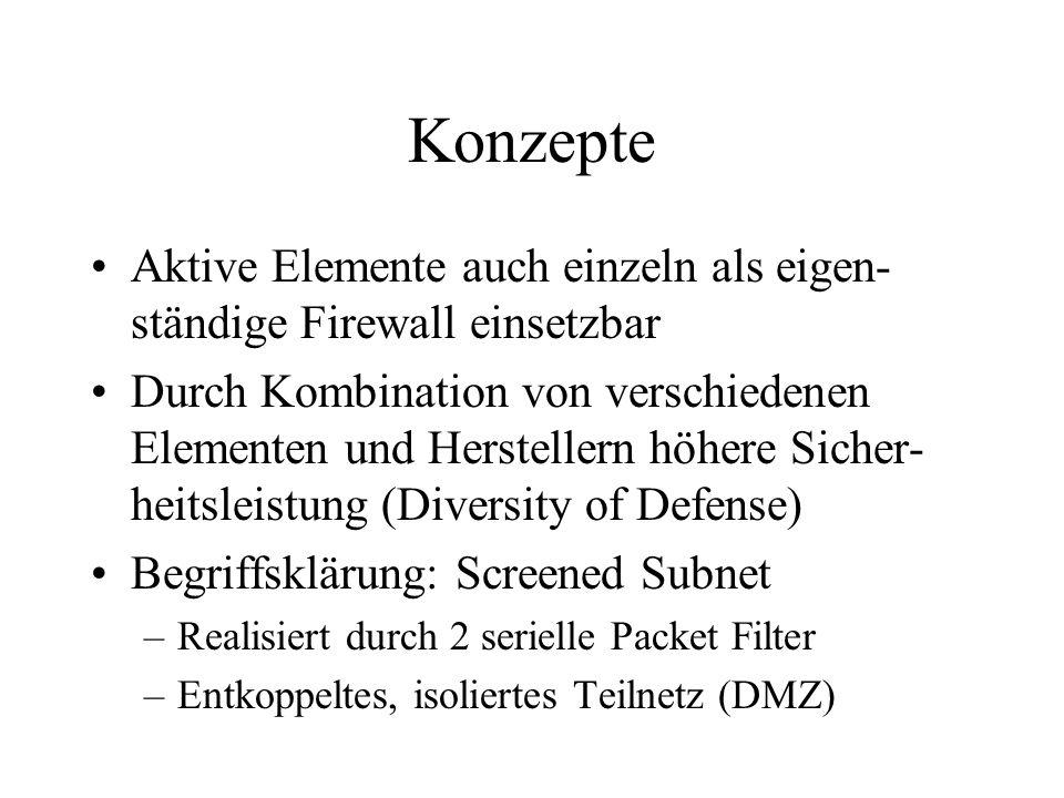 Konzepte Aktive Elemente auch einzeln als eigen- ständige Firewall einsetzbar Durch Kombination von verschiedenen Elementen und Herstellern höhere Sicher- heitsleistung (Diversity of Defense) Begriffsklärung: Screened Subnet –Realisiert durch 2 serielle Packet Filter –Entkoppeltes, isoliertes Teilnetz (DMZ)