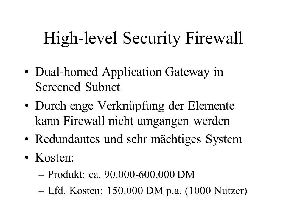 High-level Security Firewall Dual-homed Application Gateway in Screened Subnet Durch enge Verknüpfung der Elemente kann Firewall nicht umgangen werden Redundantes und sehr mächtiges System Kosten: –Produkt: ca.