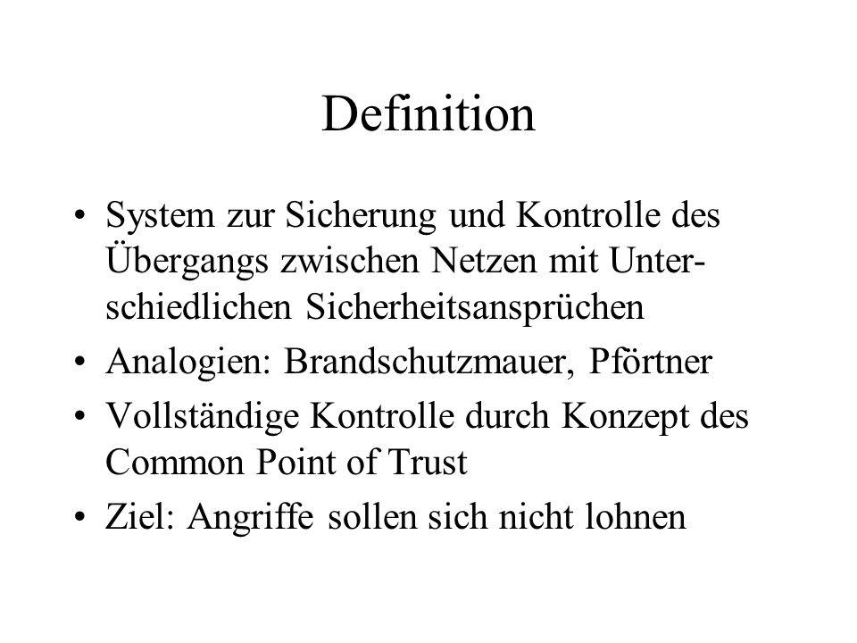 Definition System zur Sicherung und Kontrolle des Übergangs zwischen Netzen mit Unter- schiedlichen Sicherheitsansprüchen Analogien: Brandschutzmauer,