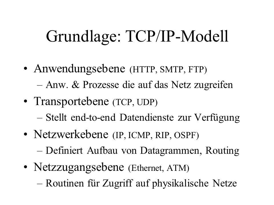 Grundlage: TCP/IP-Modell Anwendungsebene (HTTP, SMTP, FTP) –Anw. & Prozesse die auf das Netz zugreifen Transportebene (TCP, UDP) –Stellt end-to-end Da