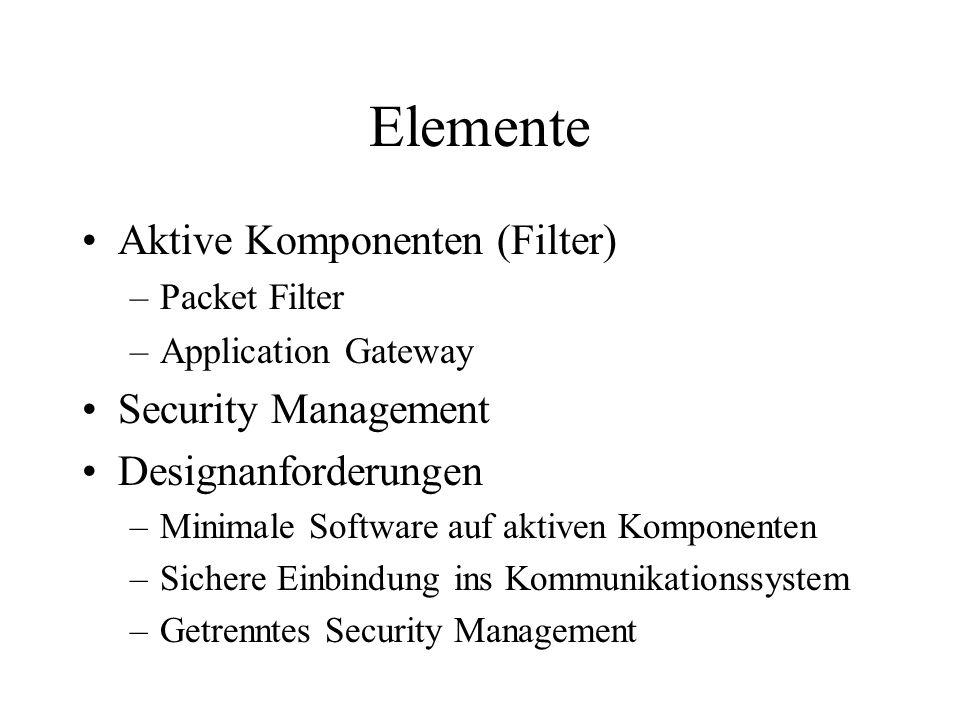 Elemente Aktive Komponenten (Filter) –Packet Filter –Application Gateway Security Management Designanforderungen –Minimale Software auf aktiven Komponenten –Sichere Einbindung ins Kommunikationssystem –Getrenntes Security Management