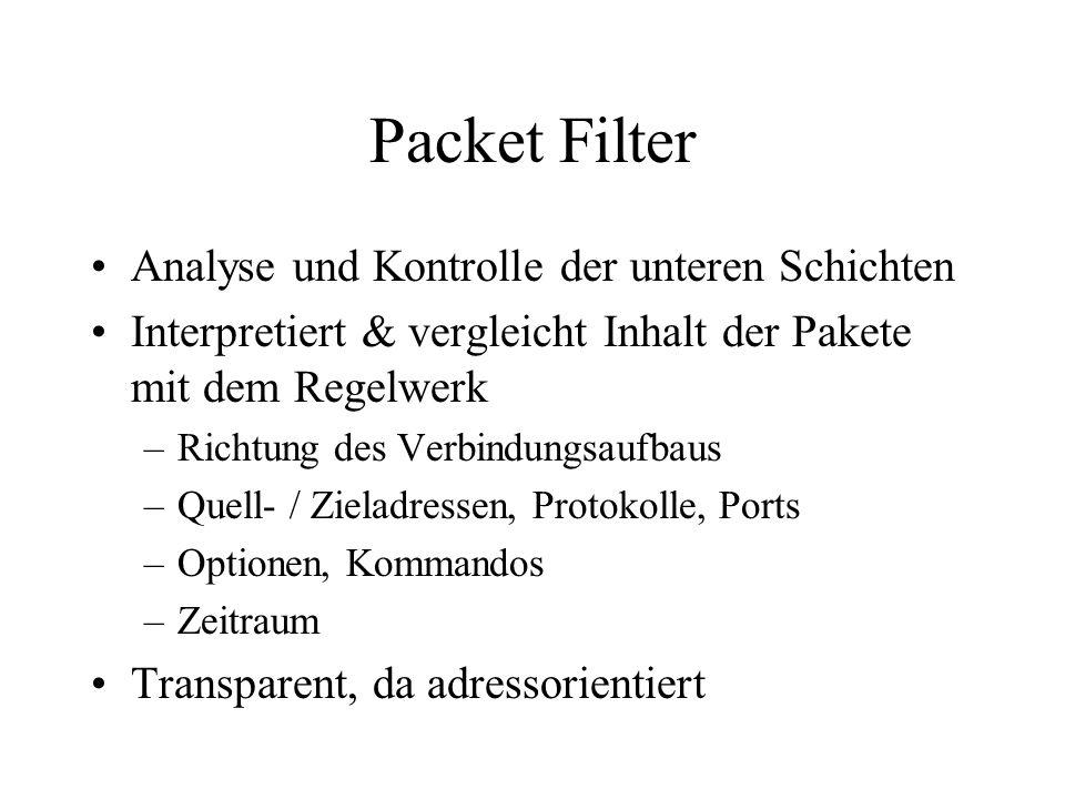 Packet Filter Analyse und Kontrolle der unteren Schichten Interpretiert & vergleicht Inhalt der Pakete mit dem Regelwerk –Richtung des Verbindungsaufbaus –Quell- / Zieladressen, Protokolle, Ports –Optionen, Kommandos –Zeitraum Transparent, da adressorientiert